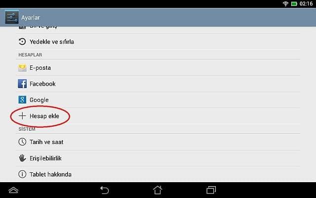 Android Cihazlarda Hesap Ekleme