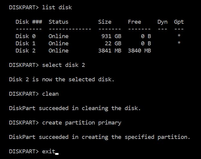 diskpart usb-drive