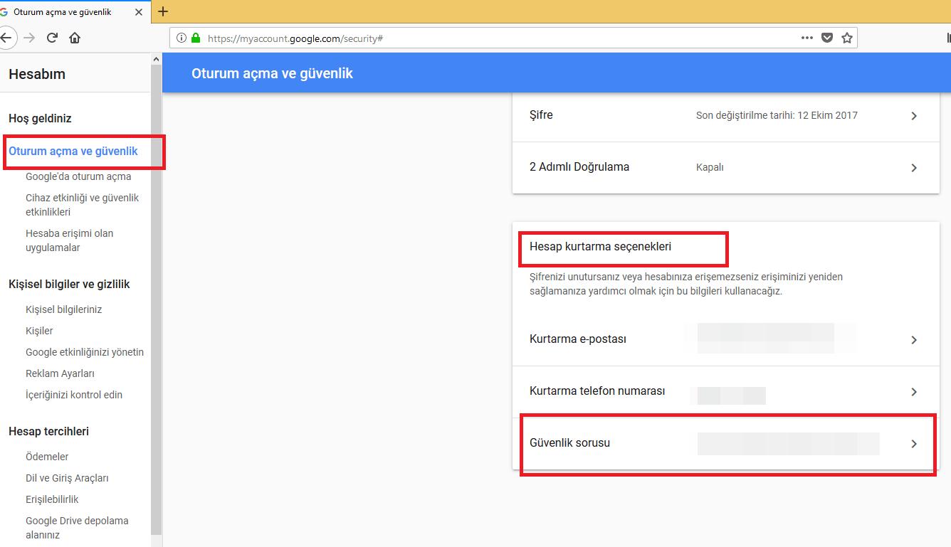 google güvenlik sorusu