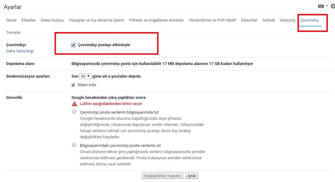 gmail çevrim dışı etkin