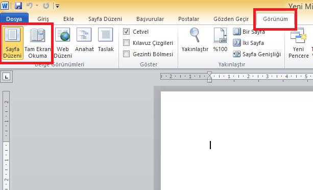 word sayfa görünümü