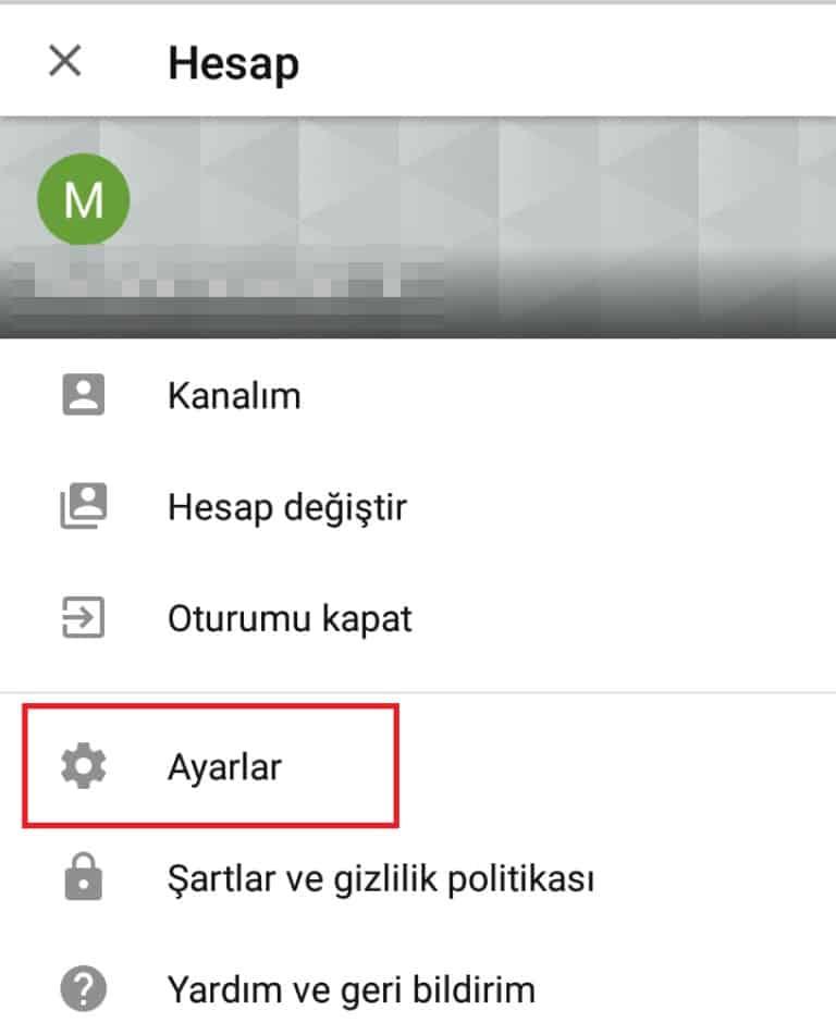 youtube uygulama ayar