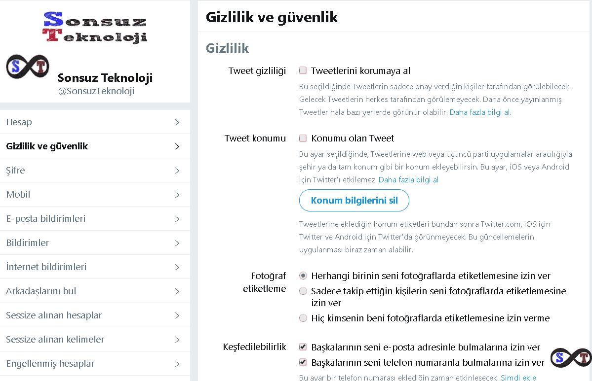 tweet gizlilik