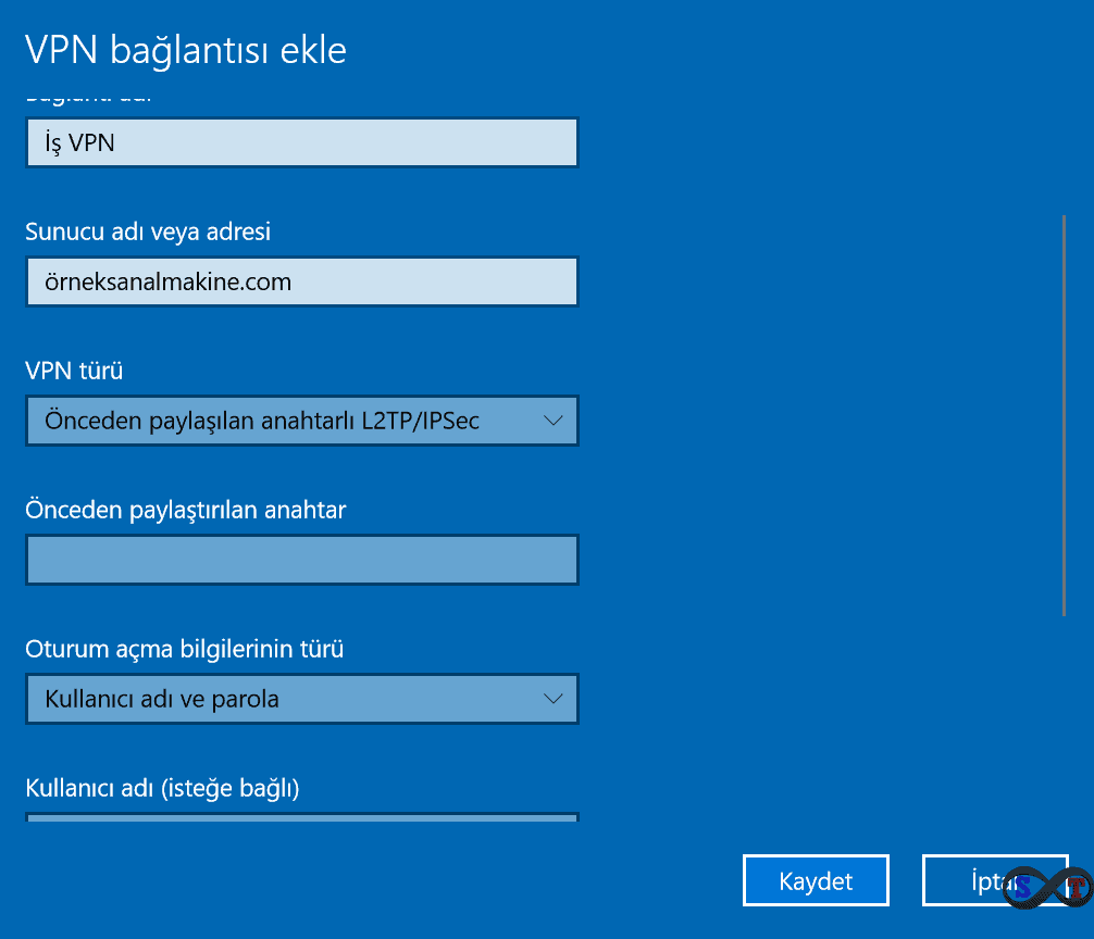vpn windows ayar