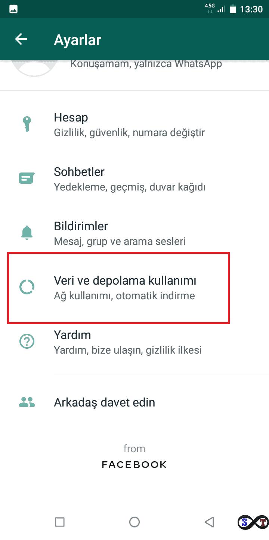 Whatsapp Veri ve depolama kullanımı