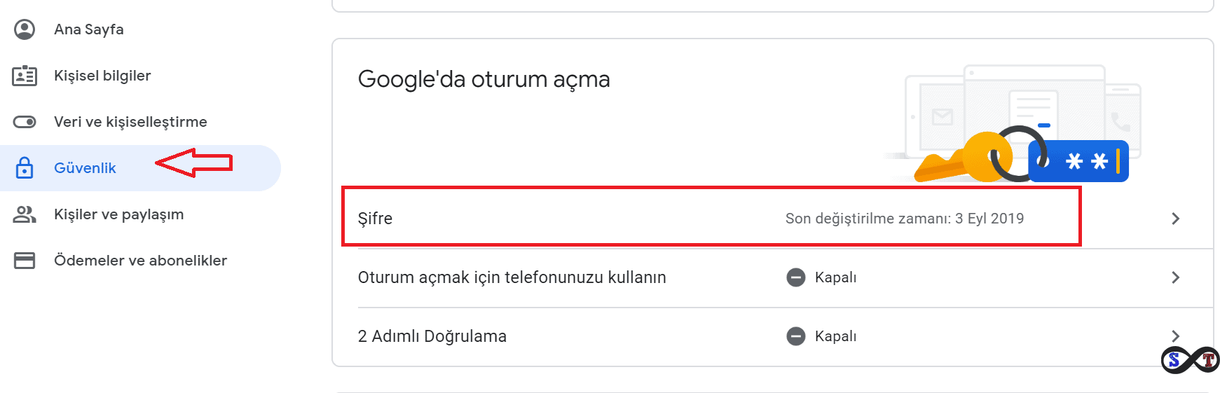 gmail şifre