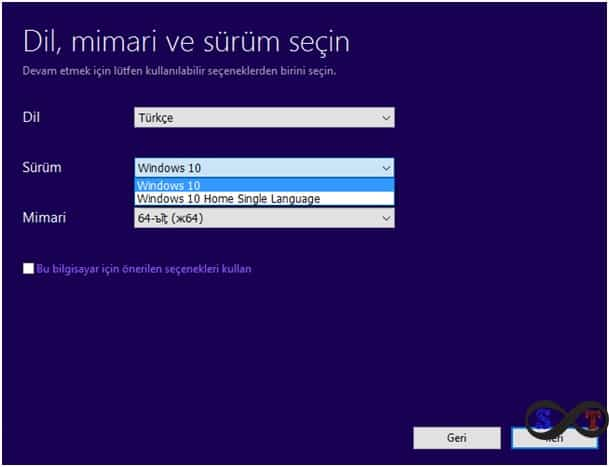 windows 10 kurulum