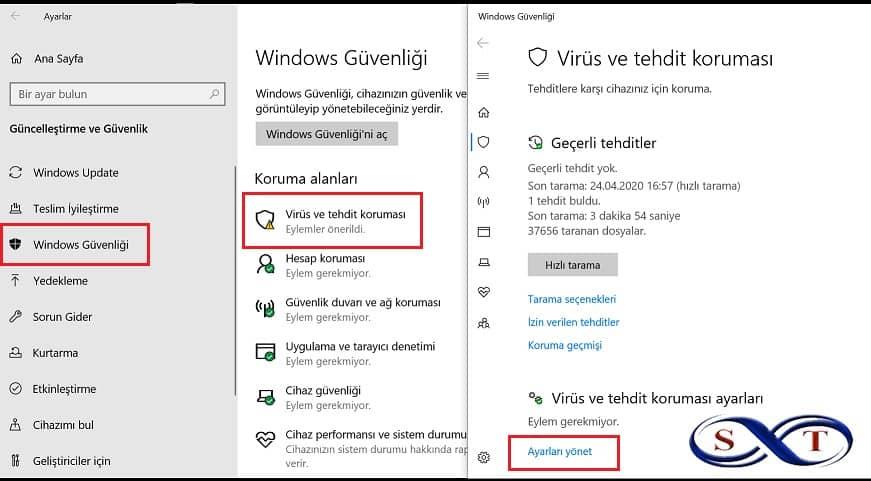 windows defender virüs tehdit koruması