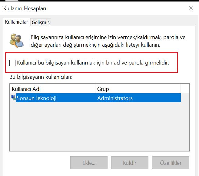 kullanıcı hesapları
