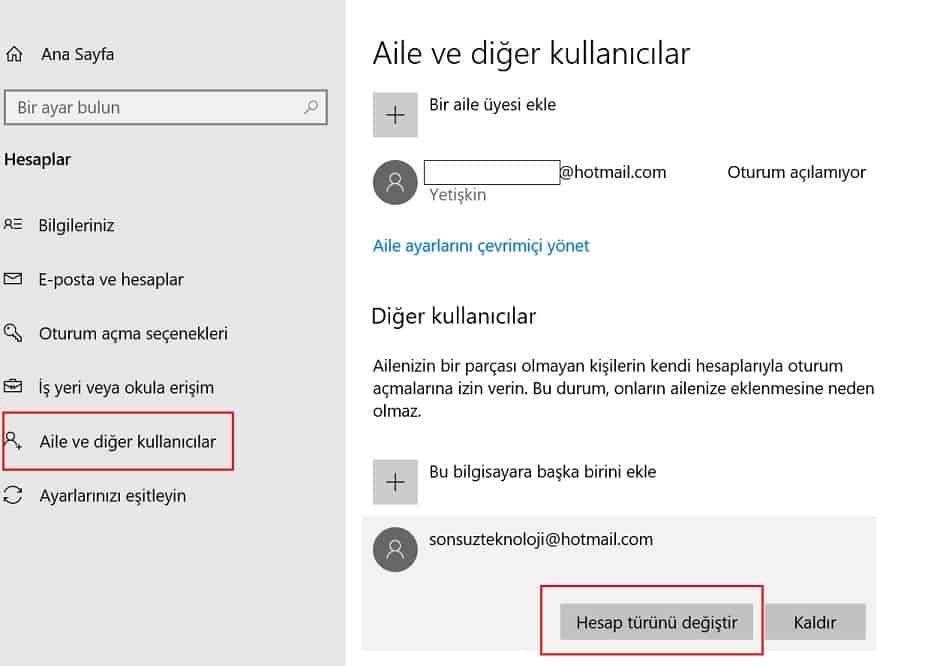 windows Hesap türü değiştir