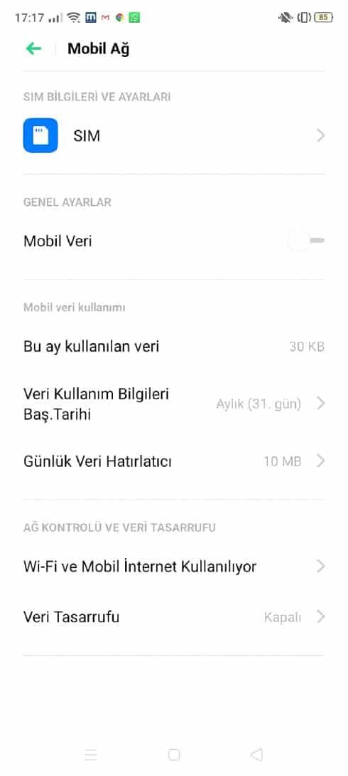 aylık veri kullanımı verileri