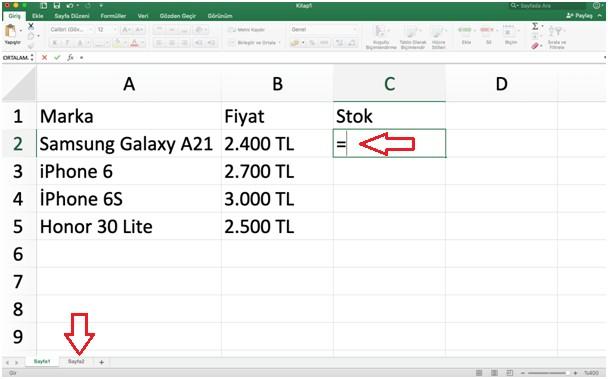 Excel başka sayfa ver aktarma