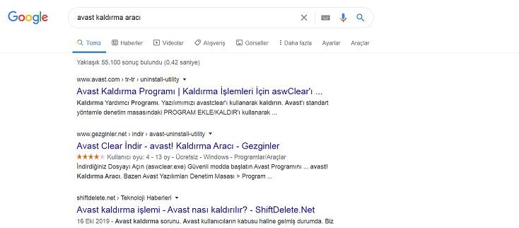 google avast kaldırma