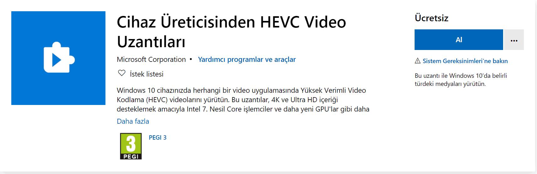hevc video uzantı dosya