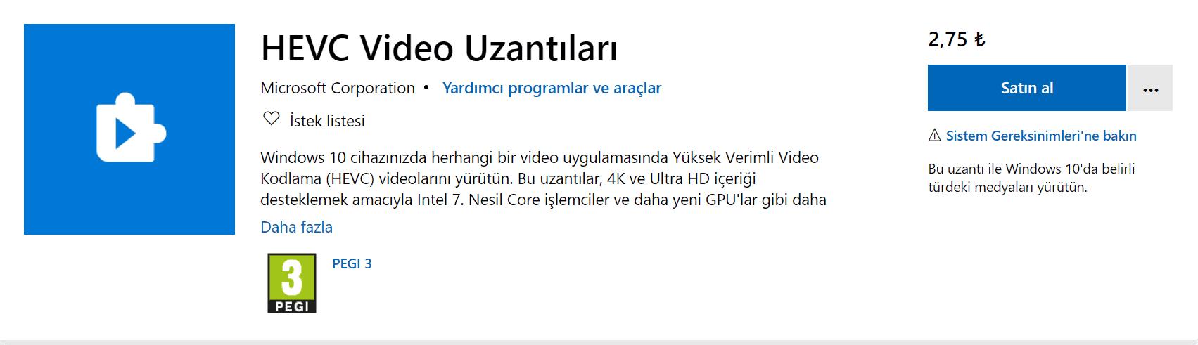 hevc video uzantıları