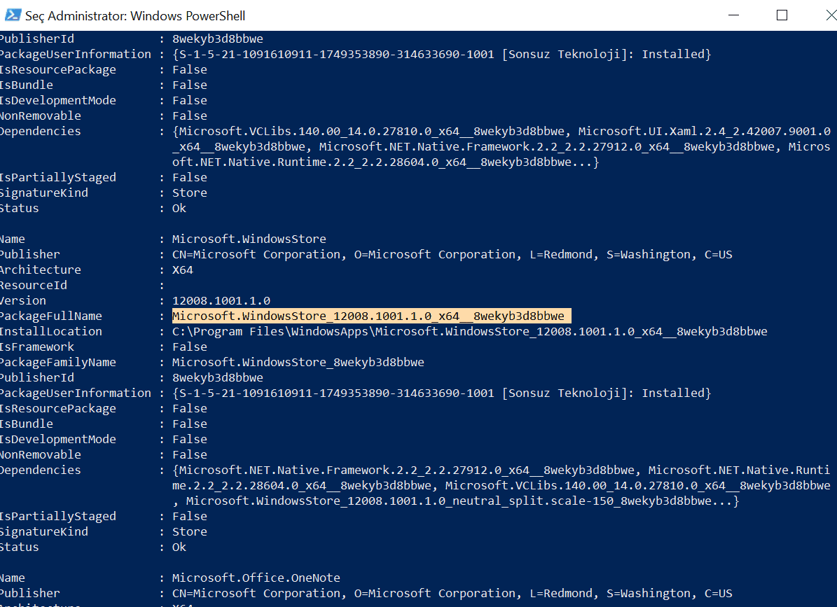 powershell windowsstore