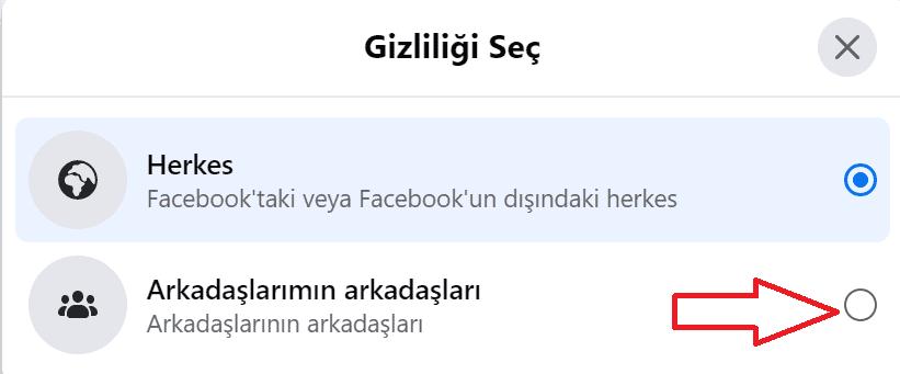 facebook gizlliği seç