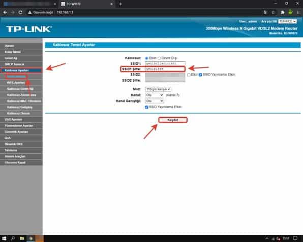 tp link modem şifre değiştirme işlemleri