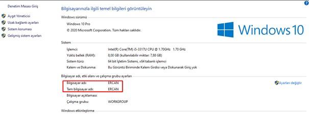 windows 1o bilgisayar adı