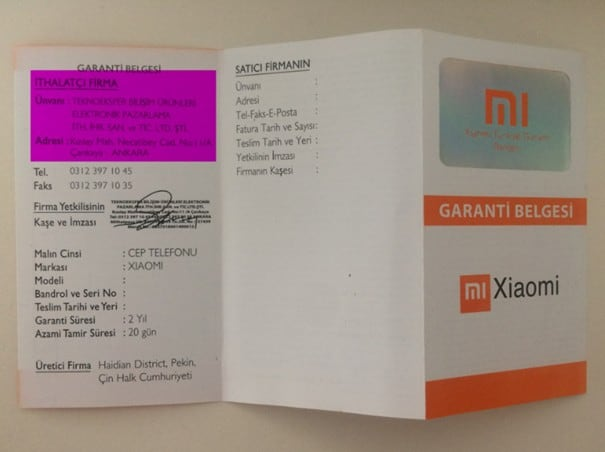 Xiaomi Garanti belgesi