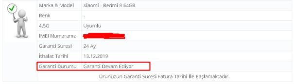 Xiaomi Garanti sorulama sonucu
