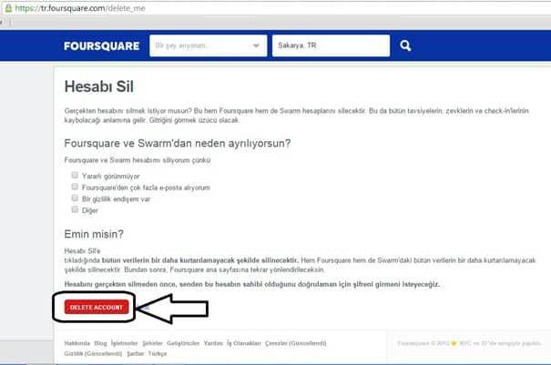 foursquare hesap sil