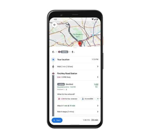 google haritalar toplu taşıma doluluk durumu