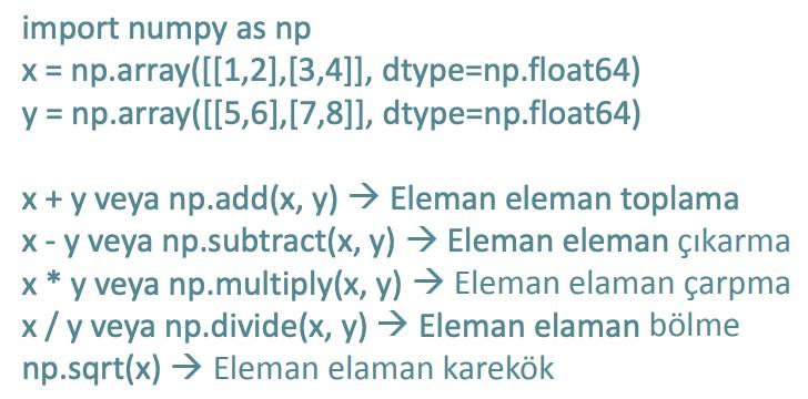 Numpy vektör ve matris