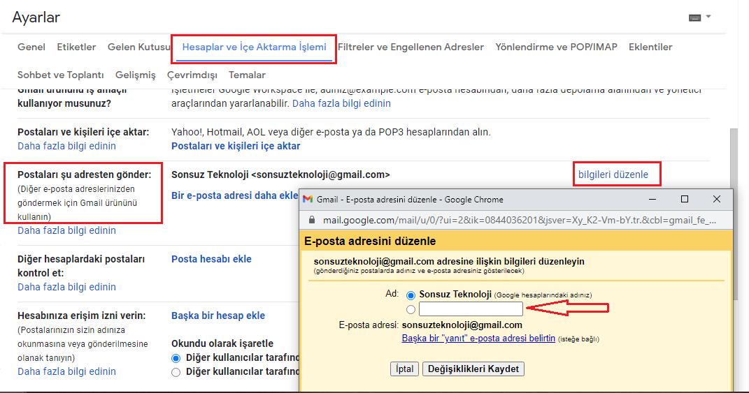 google hesap adı değiştirme