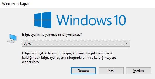 windows 10 uyku modu
