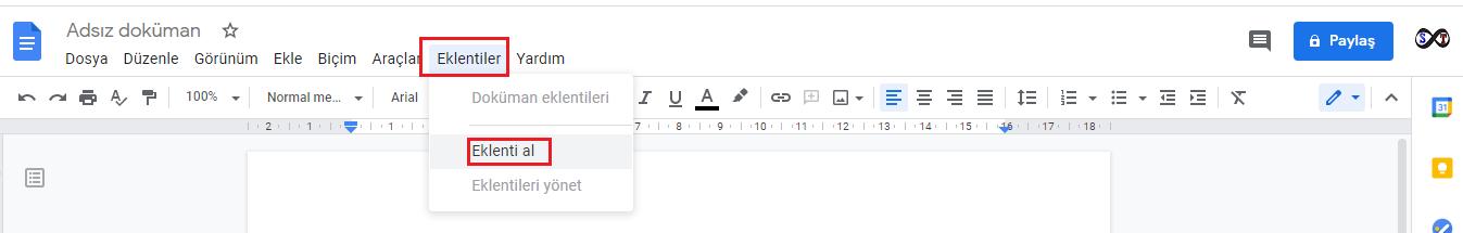 google dokümanlar eklenti
