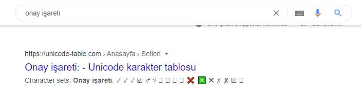 google onay işareti