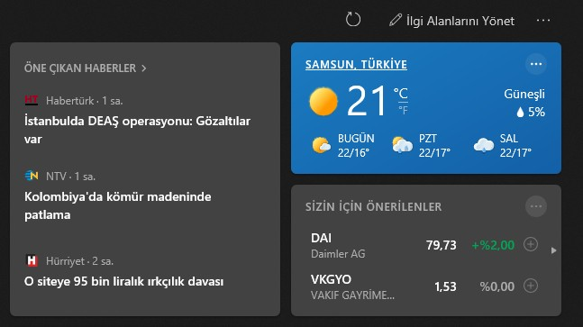 windows 10 haber ve hava durumu
