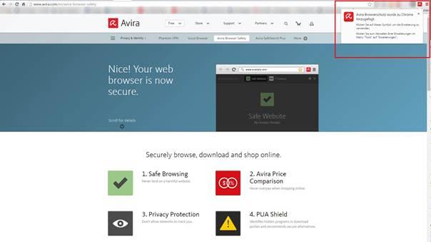 Avira Browser Safety Özellikleri