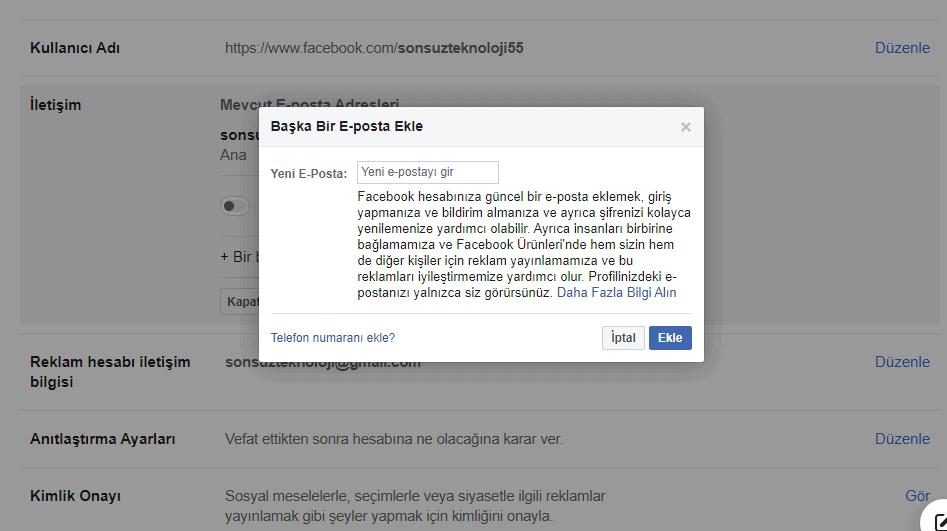 facebook e-posta ekle