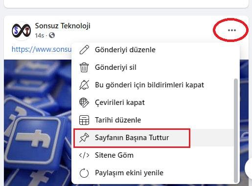facebook gönderi sabitleme