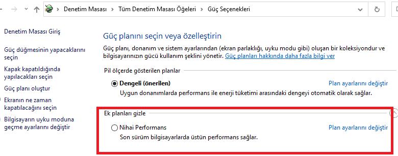 nihai performans windows 10